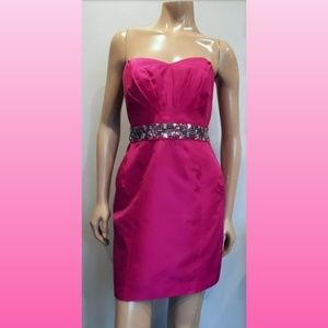 💜 Butterfly By MW Strapless Beaded Hot Pink Dress